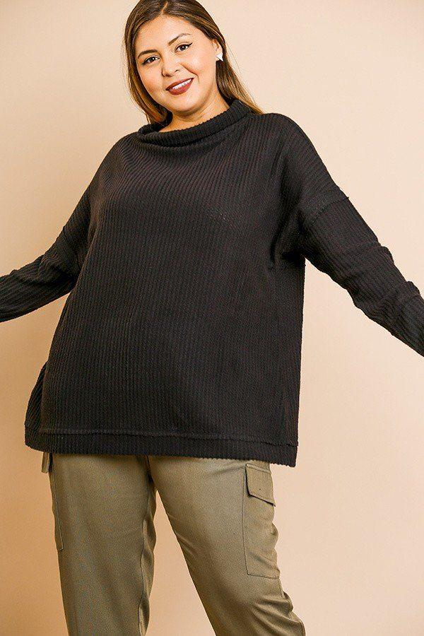Black / XL Waffle Knit Long Sleeve High Folded Neck Top