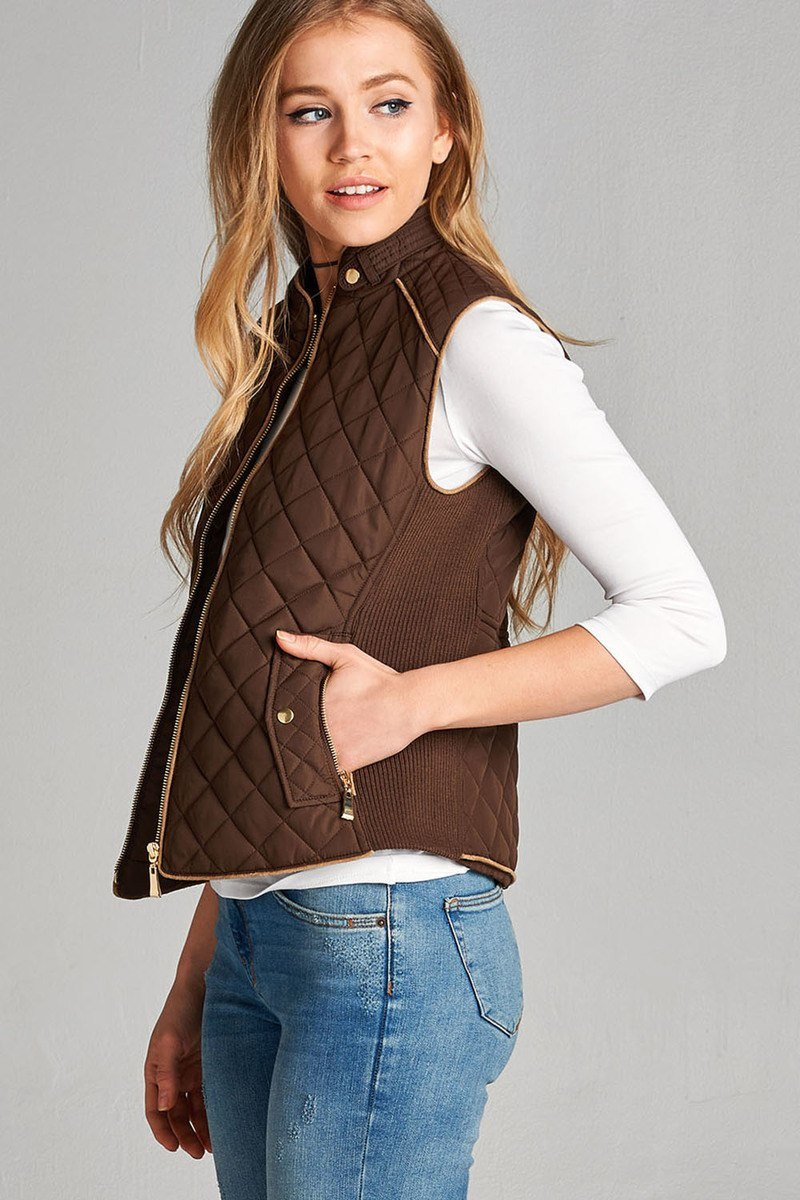 New Brown / XL Quilted Padded Vest