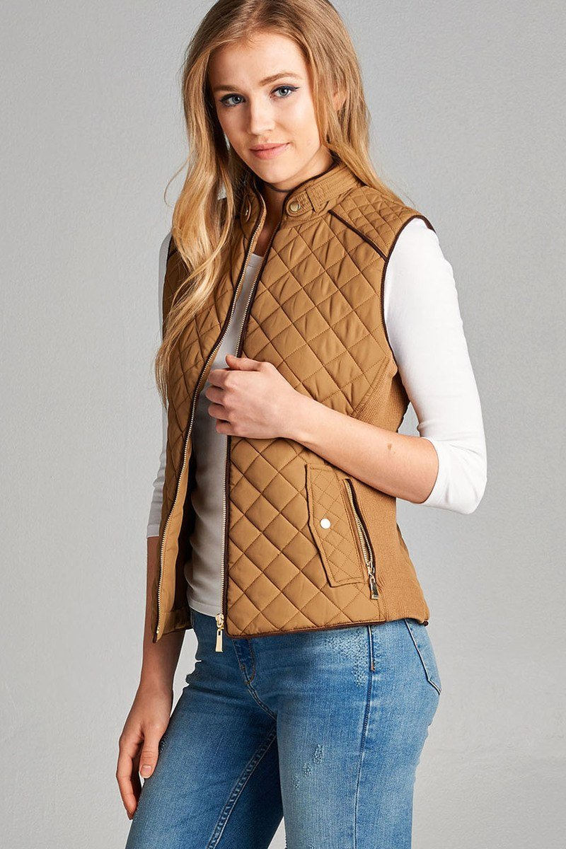 New Camel / XL Quilted Padded Vest