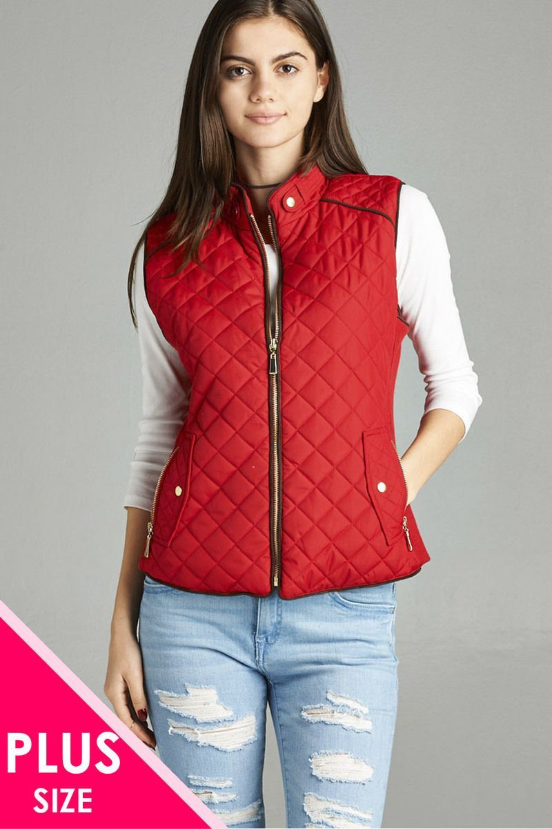 Red / XL Quilted Padded Vest