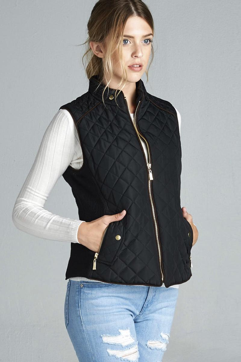 Black / XL Quilted Padded Vest