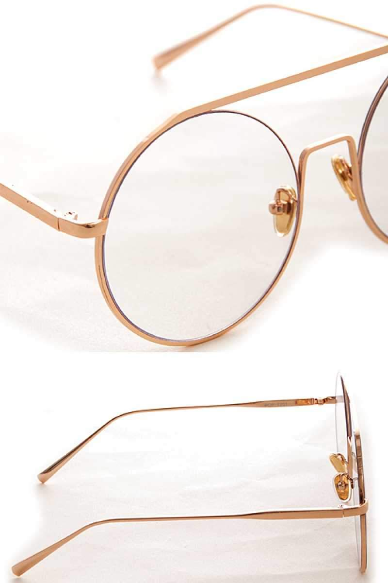Gold Clear Rounded Glasses