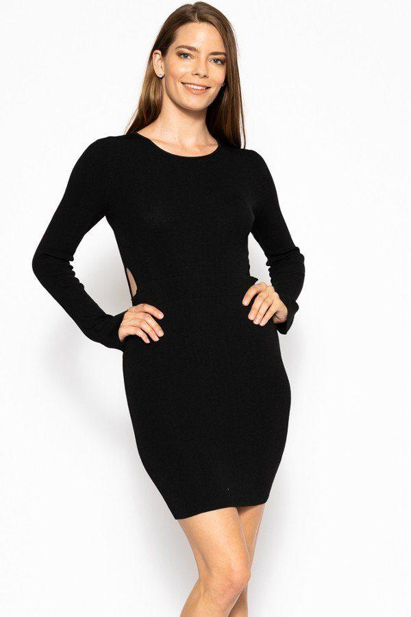 Black / S Bodycon Sweater Dress