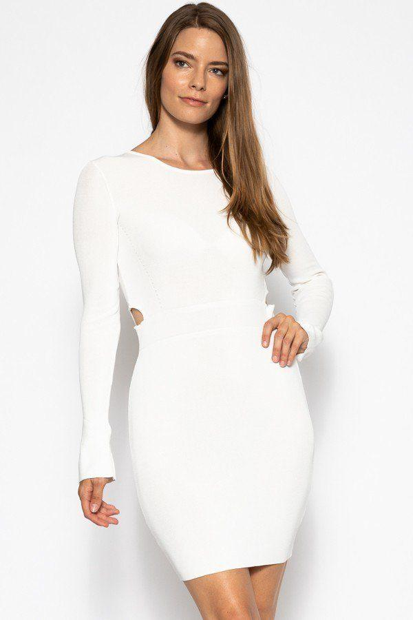 White / S Bodycon Sweater Dress