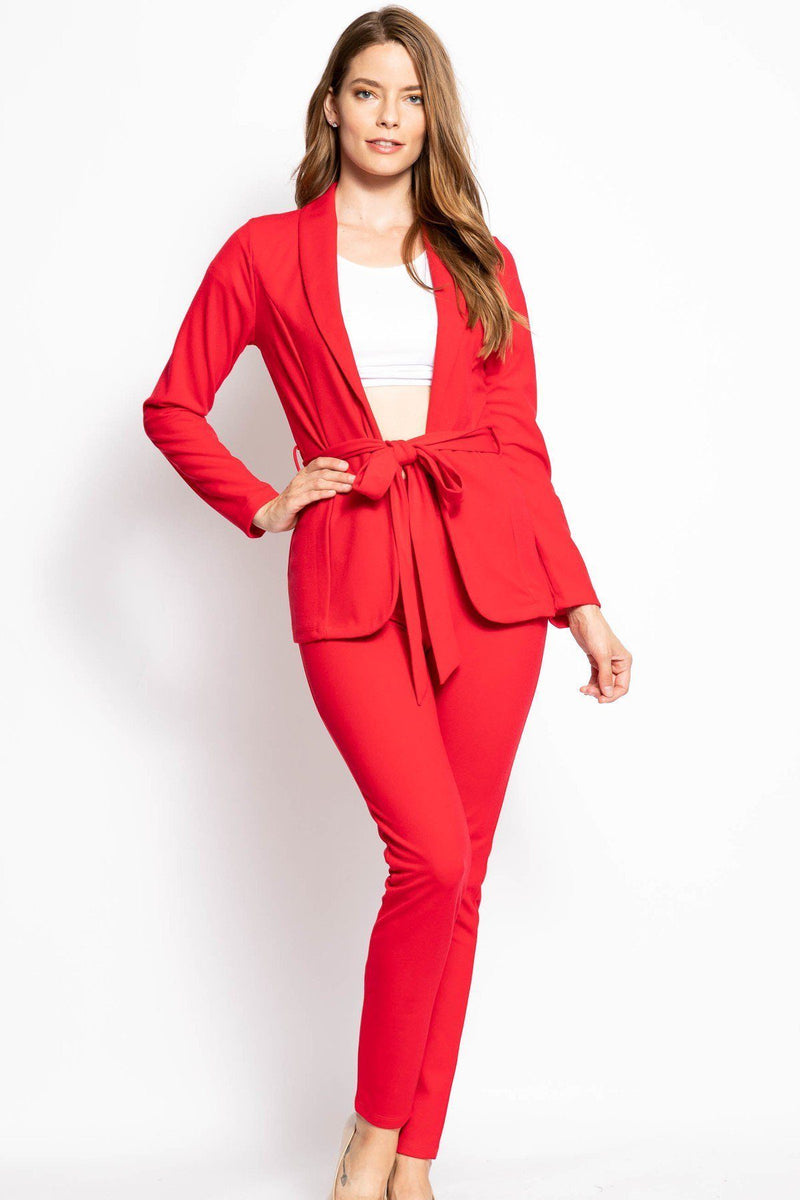 Red / S Two Piece Casual Work Set