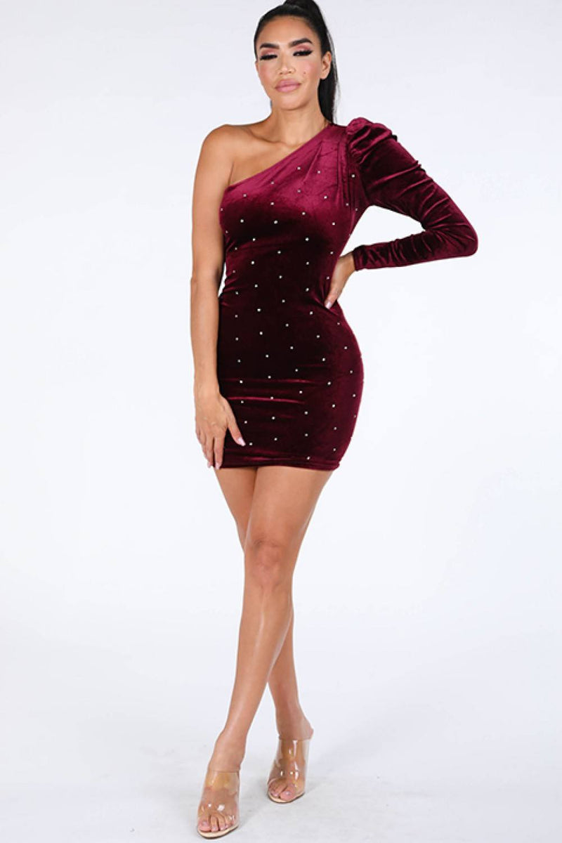 Burgundy / S One Shoulder Velvet Dress