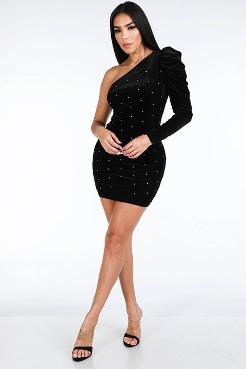 Black / S One Shoulder Velvet Dress