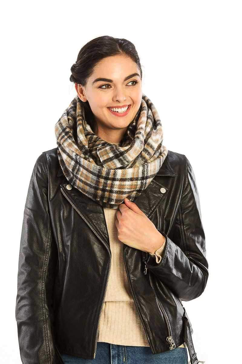 Black Plaid Print Infinity Scarf