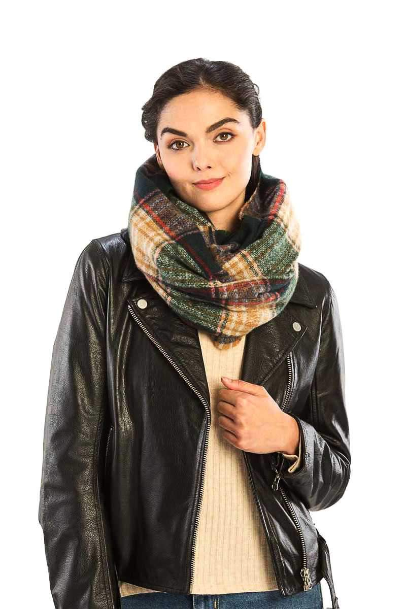 Green Plaid Print Infinity Scarf
