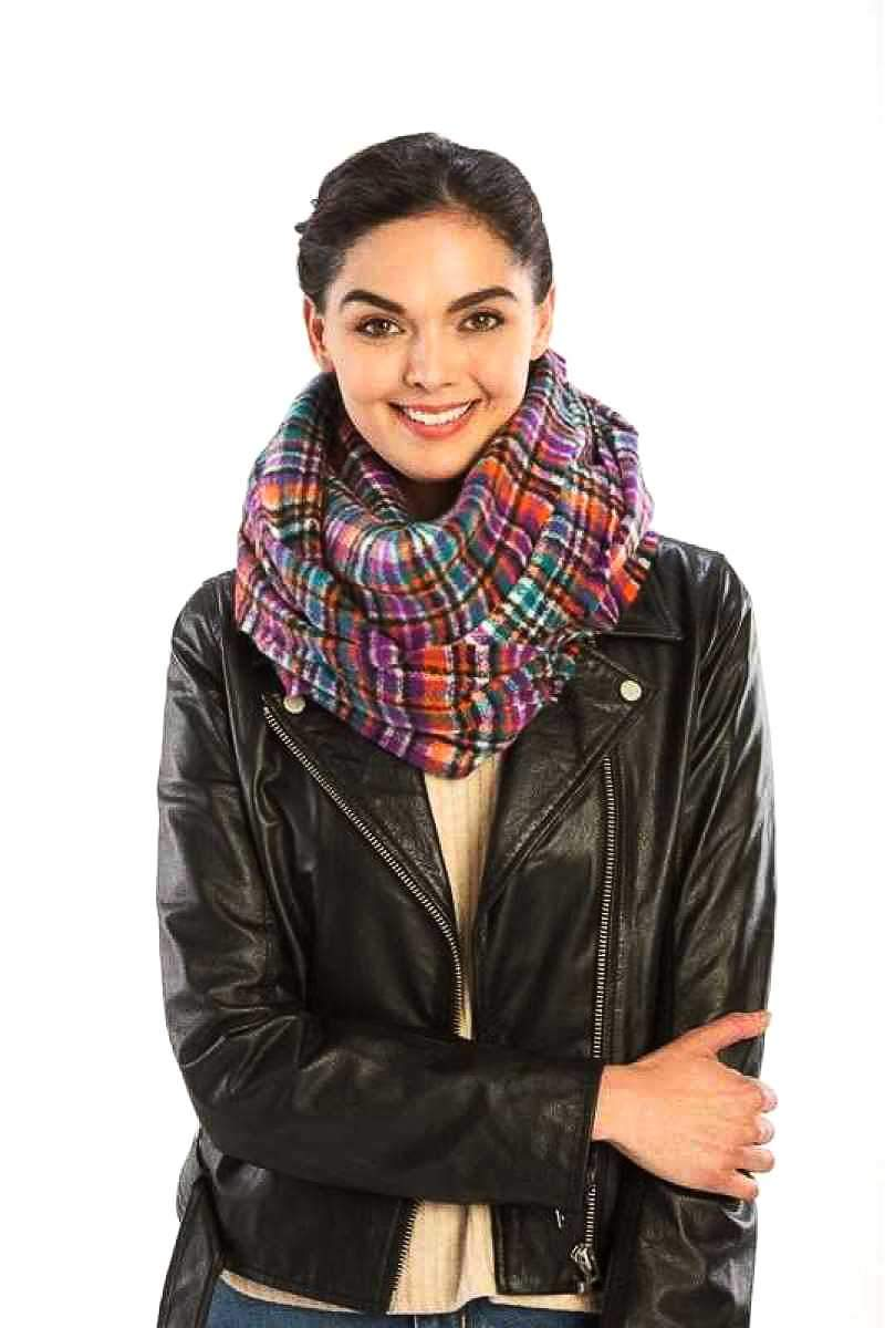 Purple Plaid Print Infinity Scarf