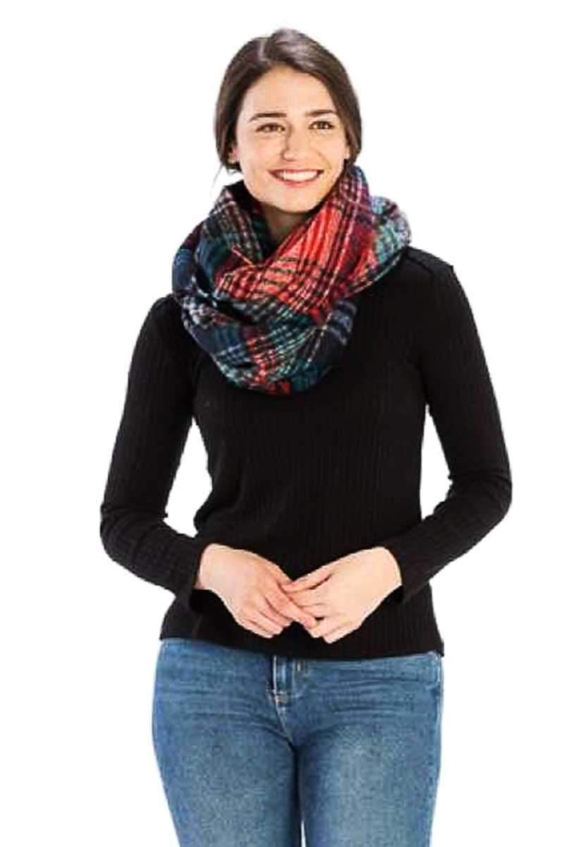 Orange Plaid Print Infinity Scarf