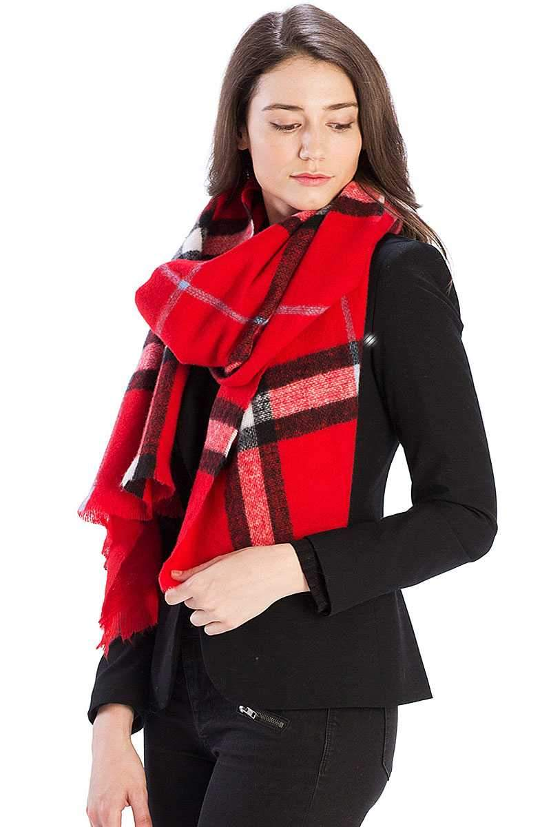 Red Checker Plaid Pattern Scarf
