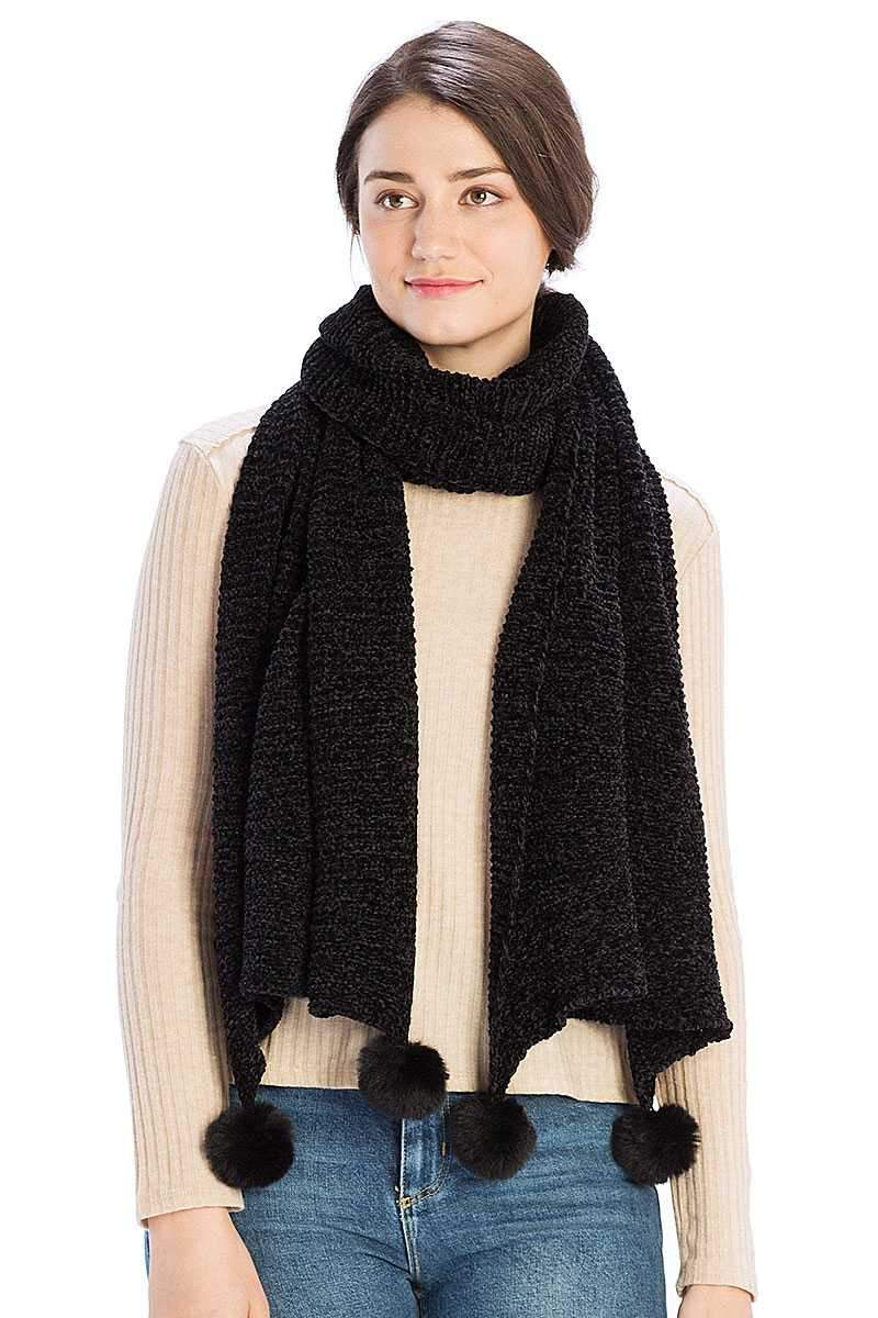 Black Pleated Chenile Pom Pom Scarf
