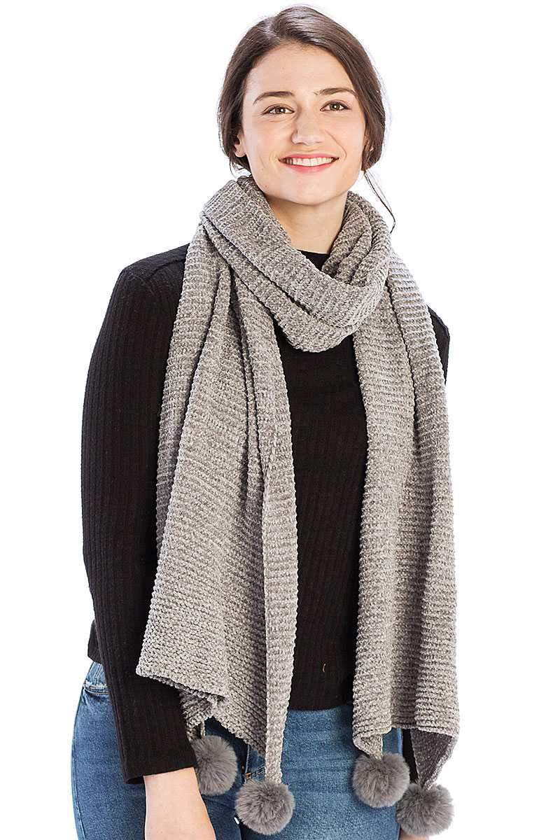 Grey Pleated Chenile Pom Pom Scarf