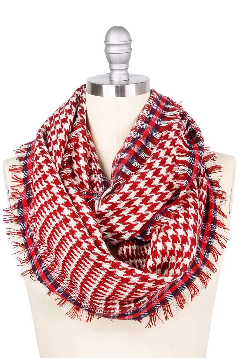 Burgundy Hounds Tooth Infinity Scarf