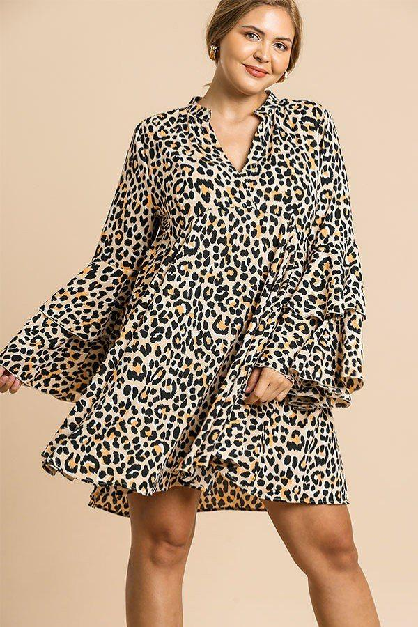 Cream Mix / XL Animal Print Oversize Dress