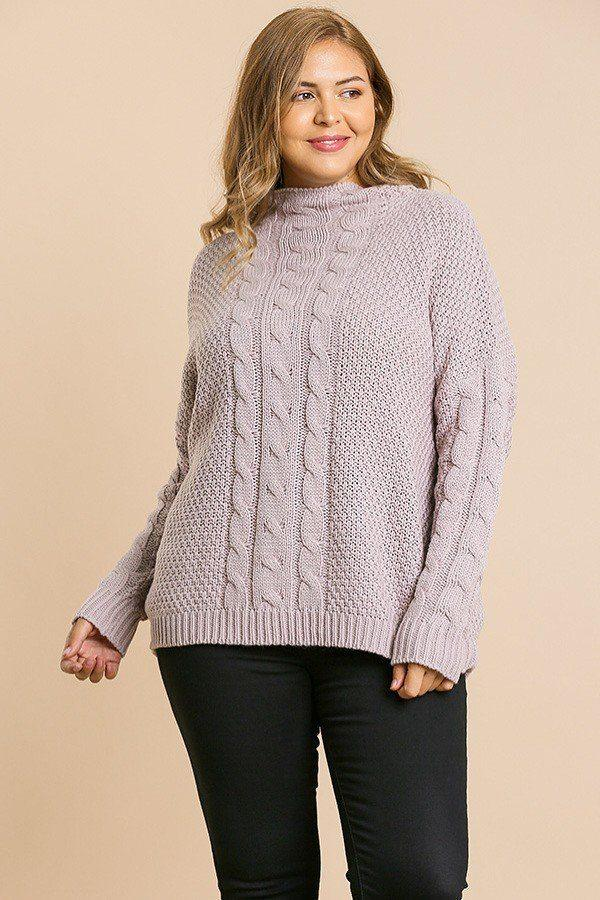 Light Mauve / XL Cable Knit Pullover Sweater