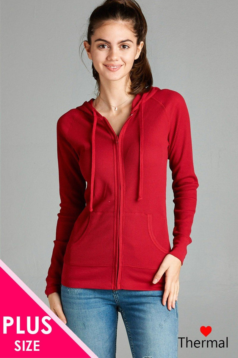 Red / XL Long Sleeve Thermal Hoodie Jacket