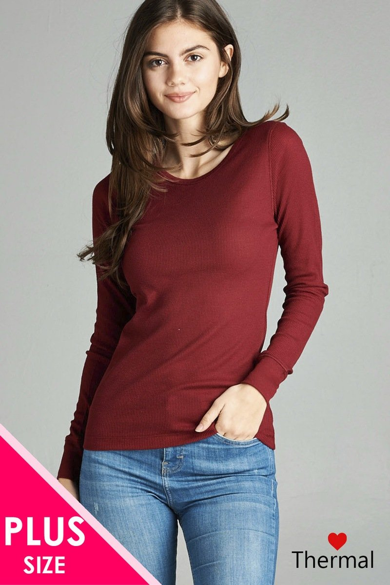 Burgundy / XL Long Sleeve Crew Neck Thermal Top