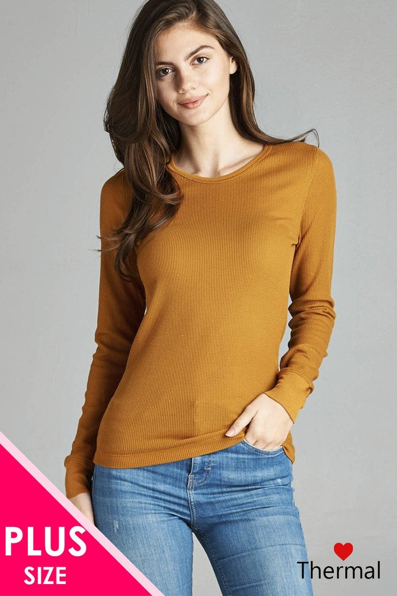 Mustard / XL Long Sleeve Crew Neck Thermal Top