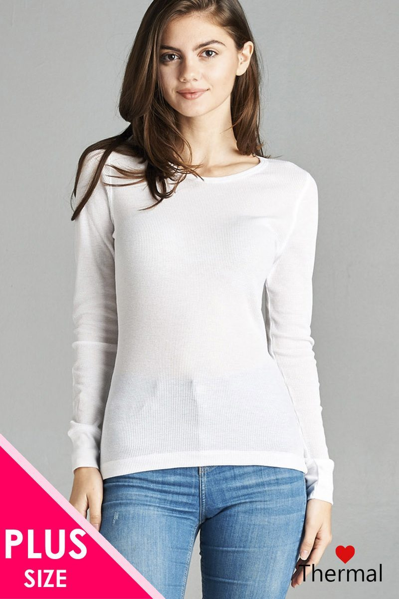 White / XL Long Sleeve Crew Neck Thermal Top