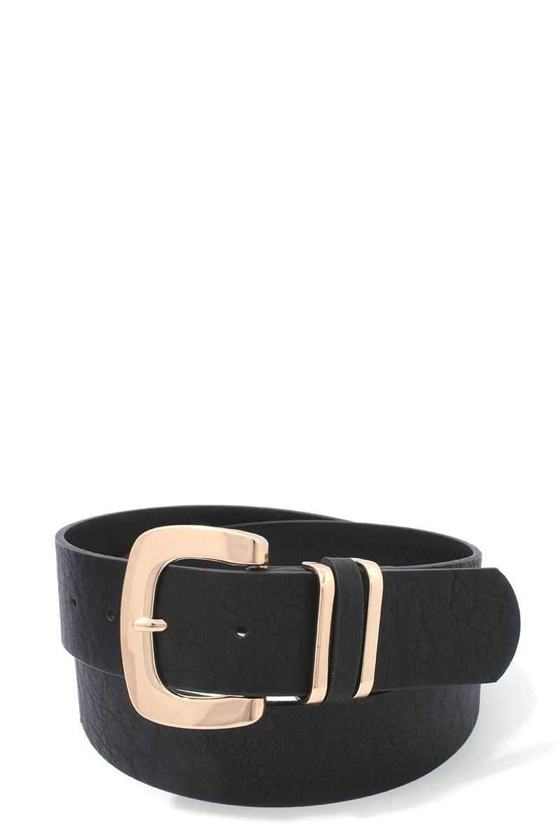 Black Bronzed Leather Belt