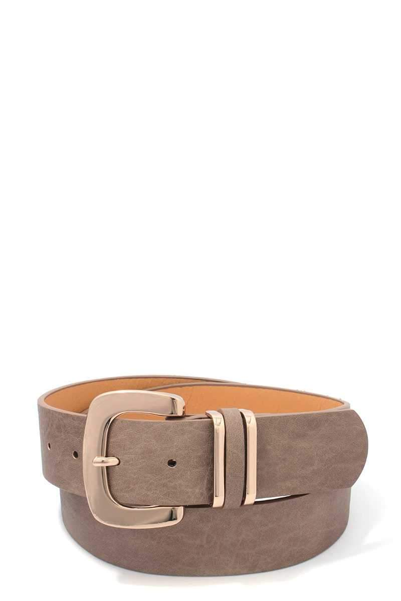 Camel Bronzed Leather Belt