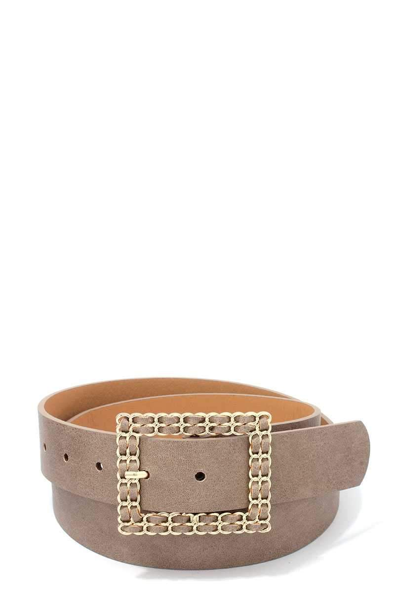 Khaki Squared Hatch Buckle Belt