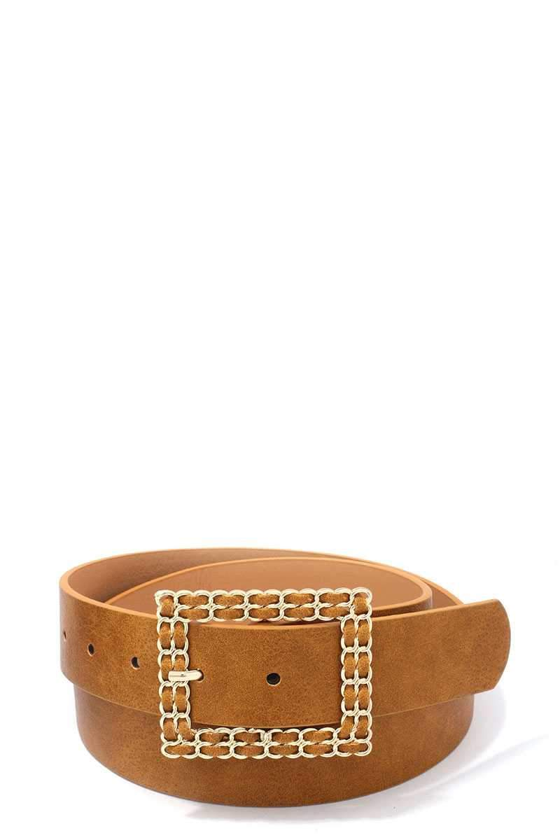 Mustard Squared Hatch Buckle Belt