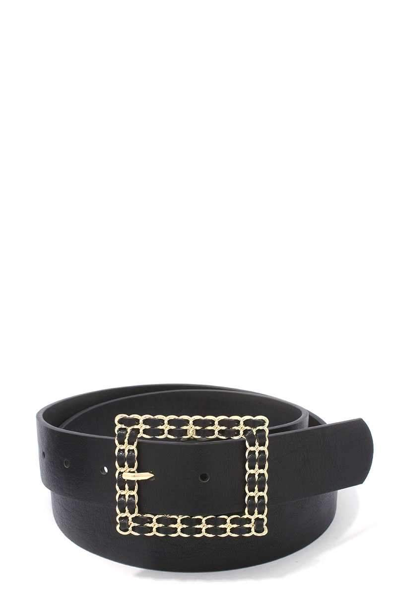 Black Squared Hatch Buckle Belt