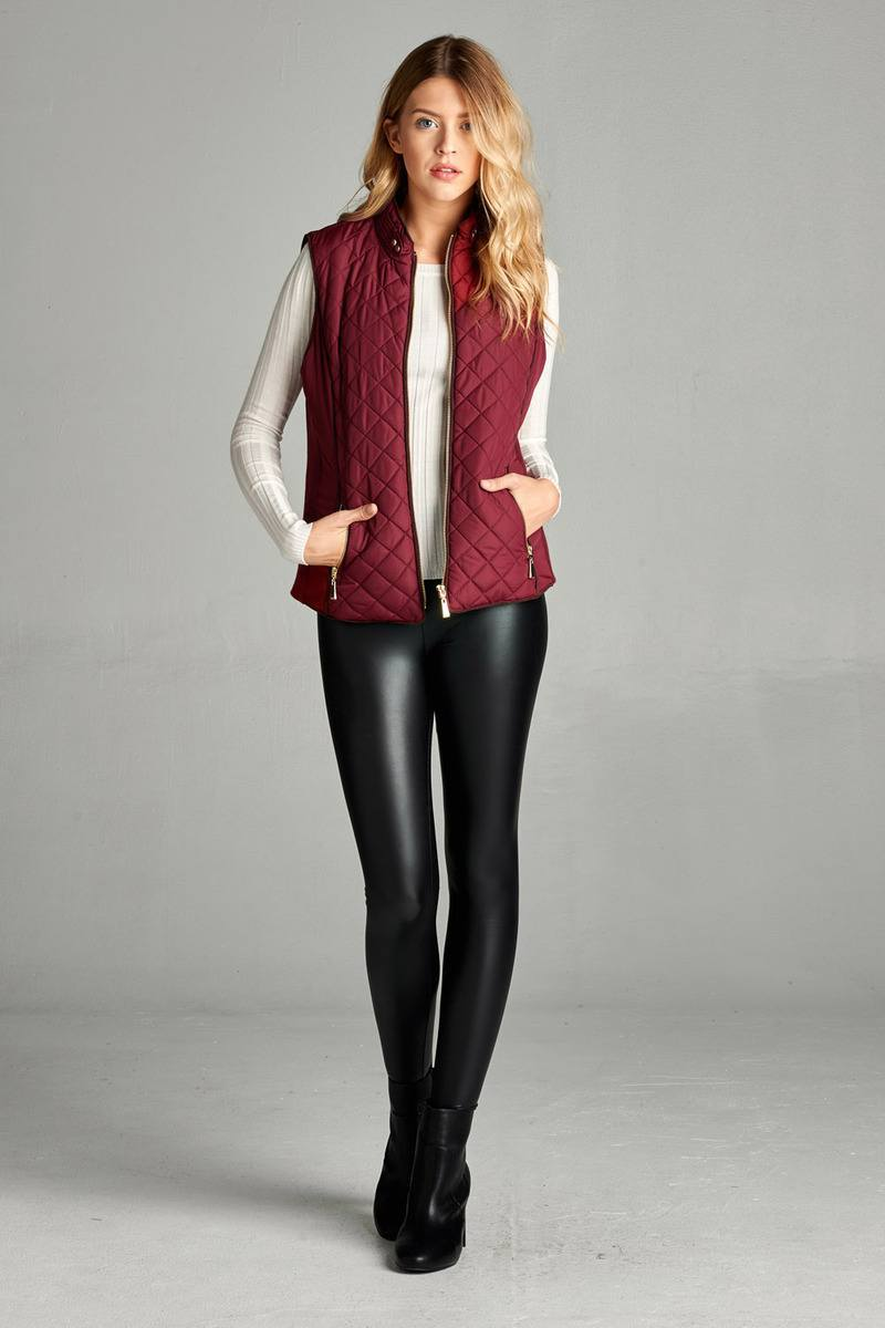 Burgundy / S Shearling Lined Quilted Vest