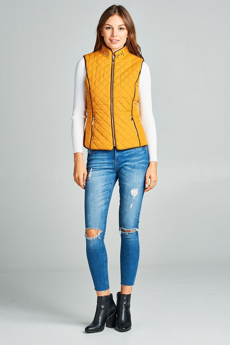 Mustard / S Shearling Lined Quilted Vest