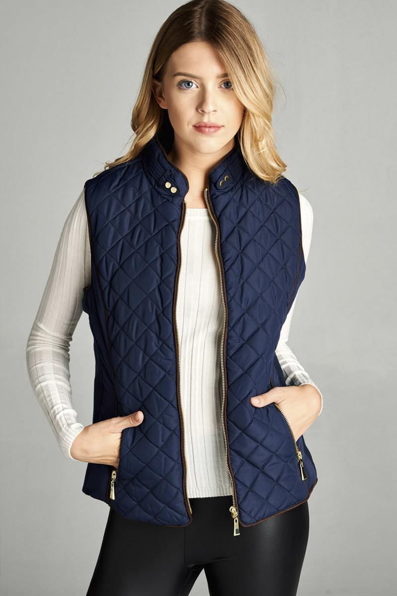 Dark Navy / S Shearling Lined Quilted Vest