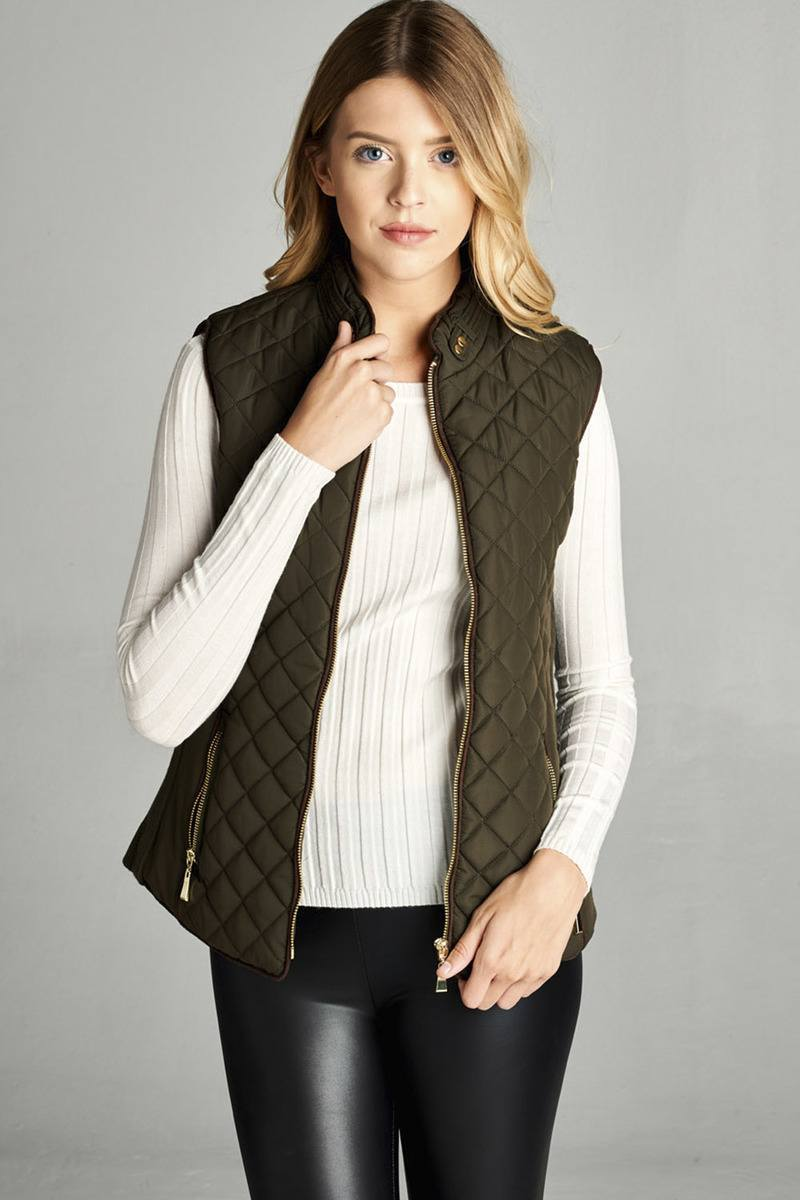 Army Olive / S Shearling Lined Quilted Vest