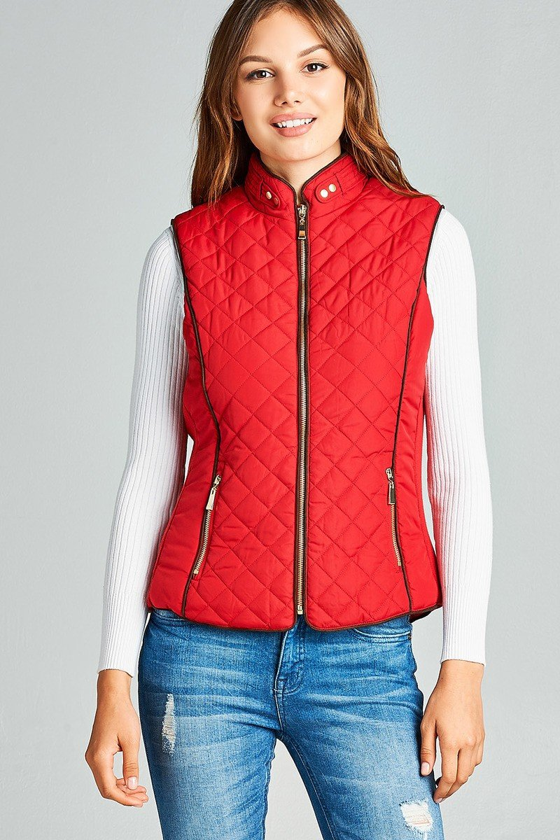 Red / S Shearling Lined Quilted Vest