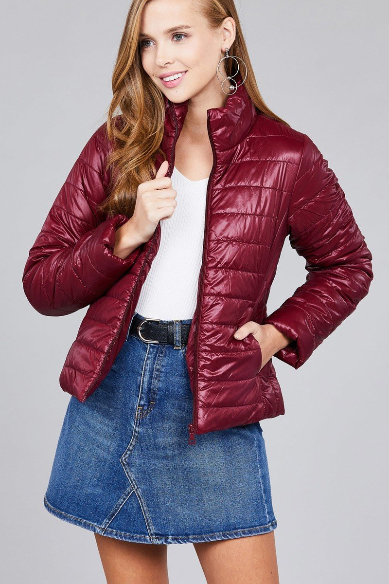 Burgundy / S Reflective Puffer Jacket