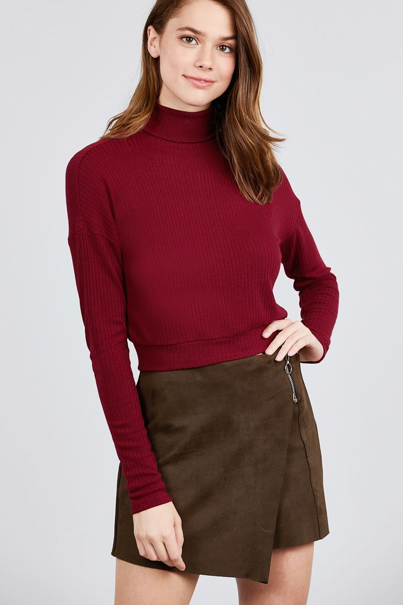Deep Burgundy / S Just Lay Back Turtleneck Top