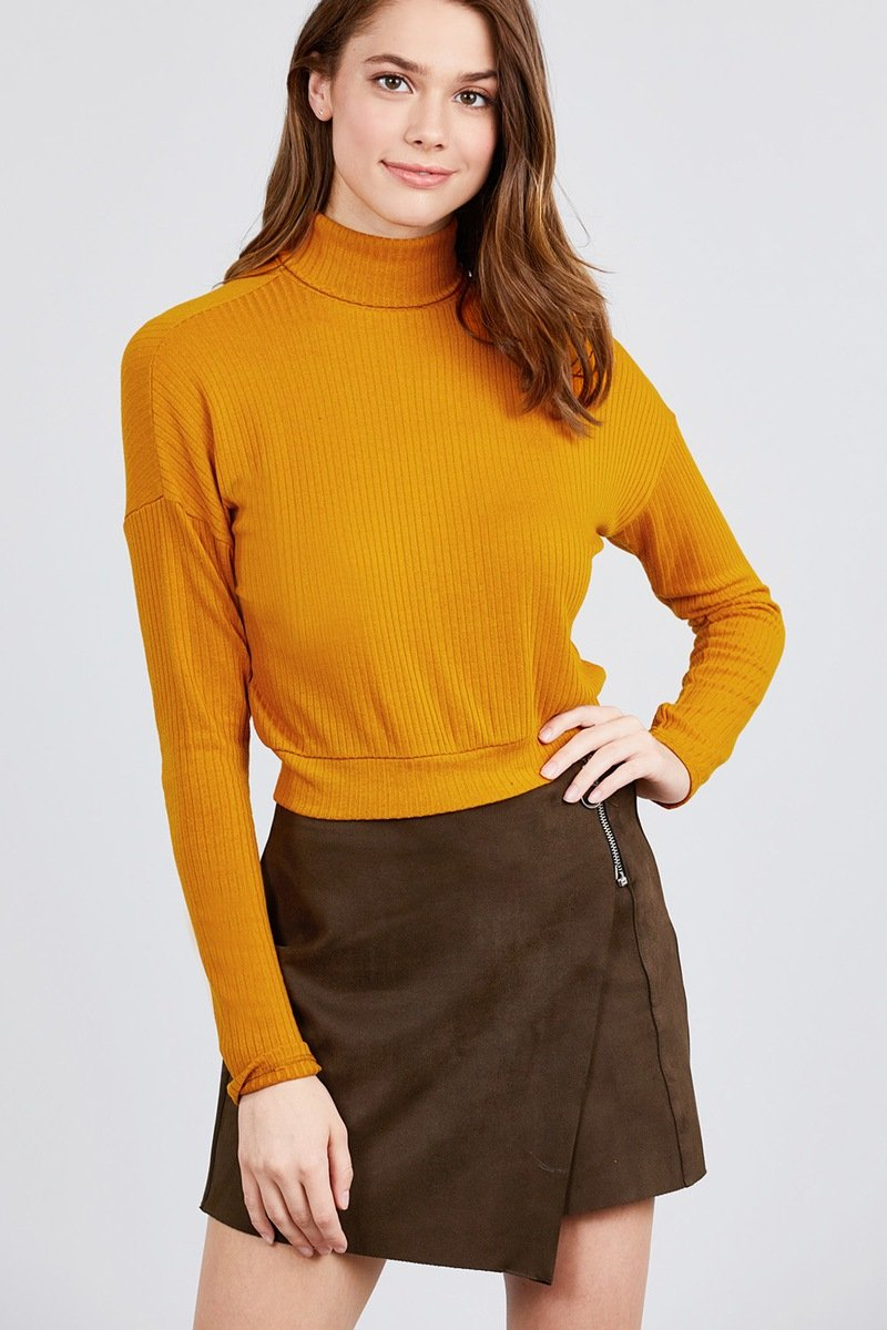 Mustard / S Just Lay Back Turtleneck Top
