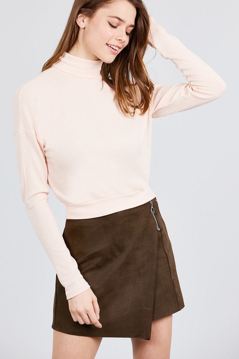 Pale Pink / S Just Lay Back Turtleneck Top