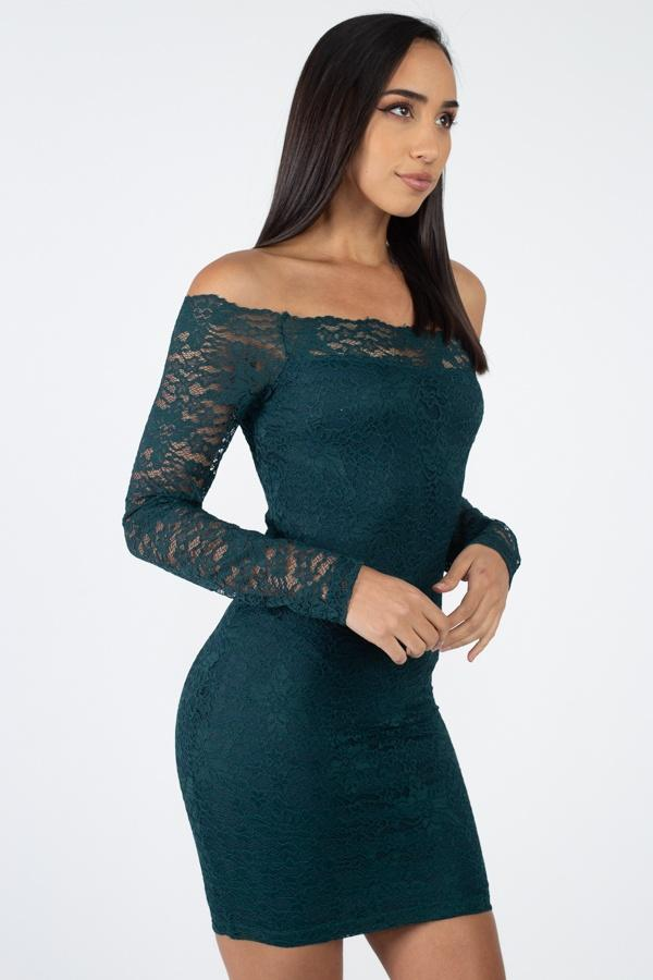 Emerald / S Floral Lace Off Shoulder Dress