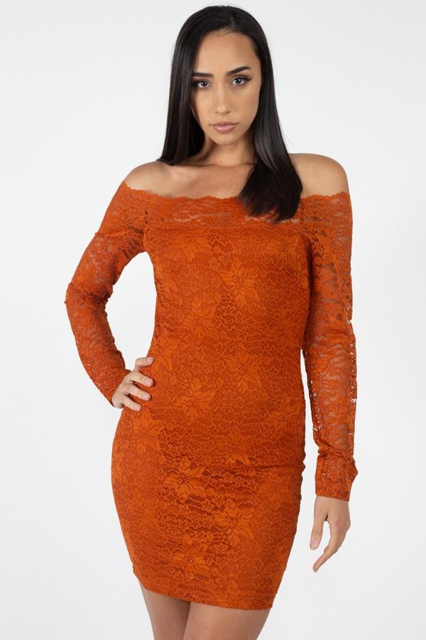 Burnt Orange / S Floral Lace Off Shoulder Dress