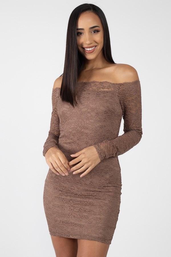 Mocha / S Floral Lace Off Shoulder Dress