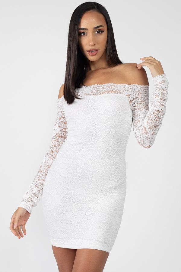 White / S Floral Lace Off Shoulder Dress