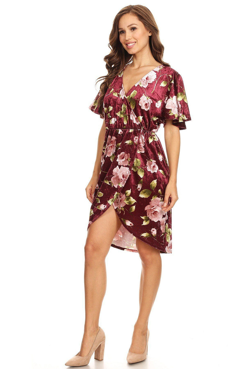 Burgundy / S Floral Print Short Dress