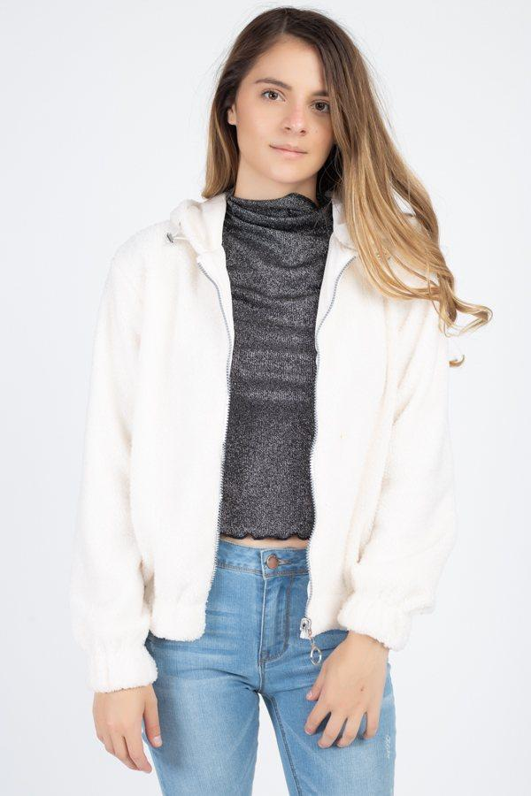 Ivory / S Soft Fuzzy Fur Hooded Jacket