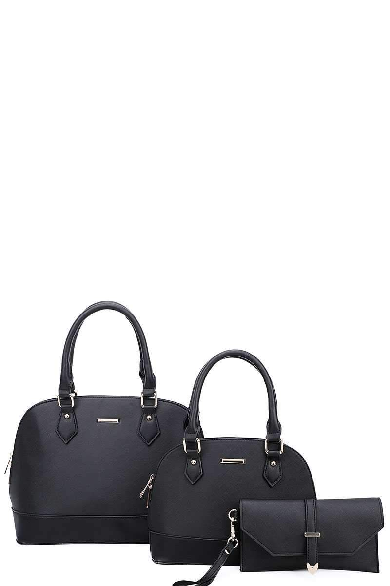 Black 3 in 1 Domed Satchel Bags And Clutch Set
