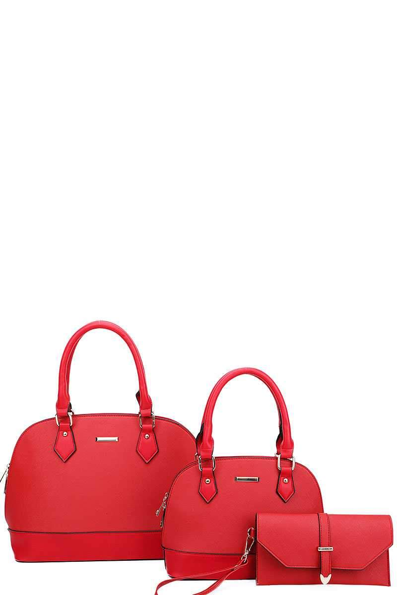 Burgundy 3 in 1 Domed Satchel Bags And Clutch Set