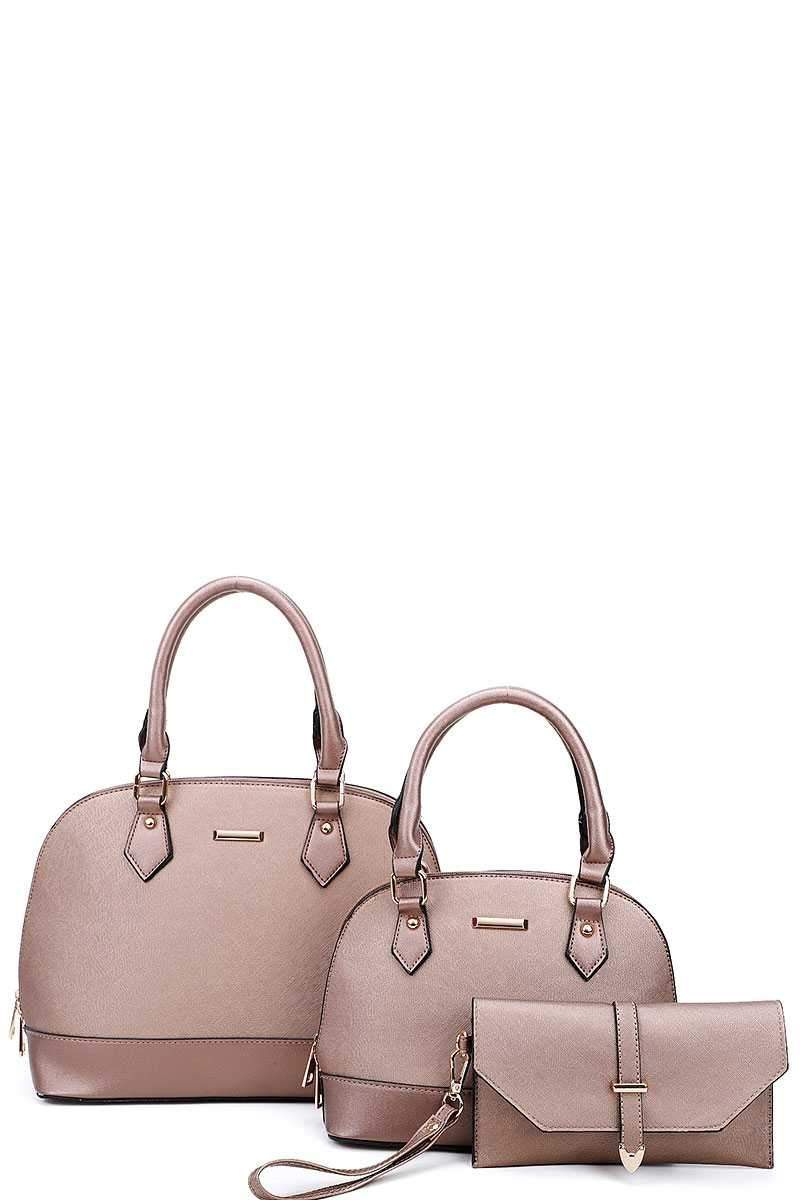 Gold 3 in 1 Domed Satchel Bags And Clutch Set