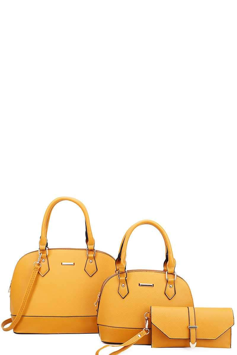 Mustard 3 in 1 Domed Satchel Bags And Clutch Set