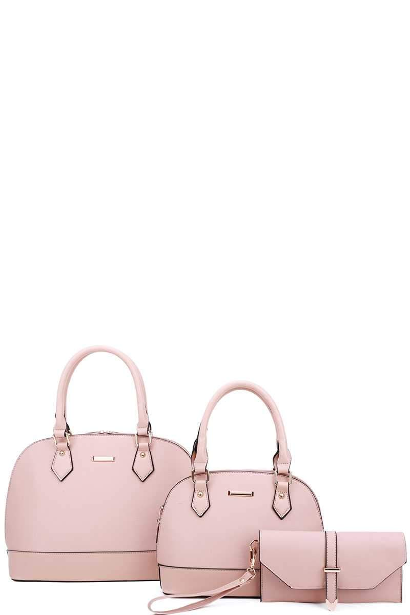 Pink 3 in 1 Domed Satchel Bags And Clutch Set
